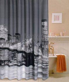 Beautiful New York Night City Design Bathroom Fabric Shower Curtain Cs220