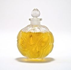 1927 R. Lalique, Jay Thorpe Jaytho perfume bottle and stopper, clear/frost glass, molded label. Lalique mark. 2 3/4 in.