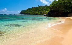 Snorkeling along the beach at Hanalei Bay, Kauai, Hawaii