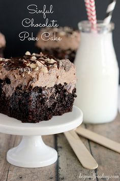 Sinful Triple Chocolate Poke Cake