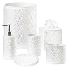 Brighten up your bathroom décor with the gorgeously styled, curvy patterned design in white that defines the Gateway Bath Ensemble. Each delightful piece adds contemporary flair wherever you place it. Main Image, Bathroom Soap Dispenser, Blue Curtains, Bedding Shop, Guest Bath, Bathroom Accessories, Master Bathroom, House Design, Bathrooms