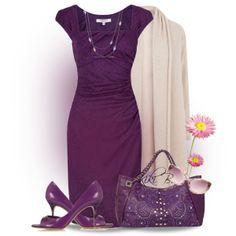 """Purple dress, shoes and bag"" by kiki-bi on Polyvore"