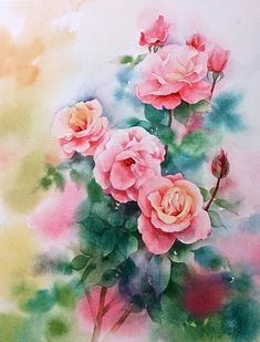 First Prize by nemling on DeviantArt Watercolor Painting Techniques, Watercolor Paintings, Flower Garden Pictures, Floral Drawing, Rose Art, Botanical Flowers, Watercolor Rose, Flower Art, Deviantart