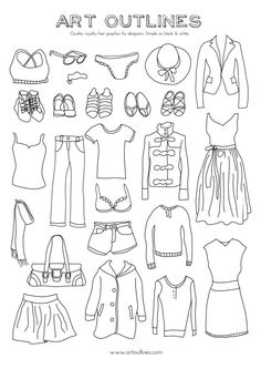 Clothes Illustration Ideas - Set of Women's Clothing Illustrations 25 Original Hand Drawn Vector Graphics. Drawing Clothes, How To Draw Clothes, How To Draw Shirts, Clothing Sketches, Women's Clothing, Fashion Drawing Dresses, Cartoon Outfits, Sr1, Fashion Design Drawings