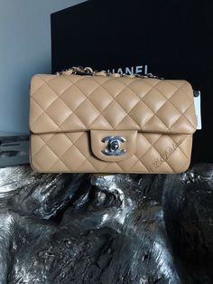 d7d4bcdf9674 NWT CHANEL 19C Beige Lamb Mini Classic Flap Rectangle NEW 2019 Silver RARE  TAUPE #CHANEL #Crossbody