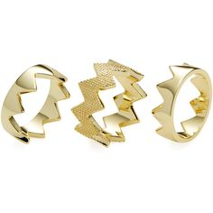 Pixie Grey Set of 3 Zig Zag Stackable Rings ($39) ❤ liked on Polyvore featuring jewelry, rings, gold, 14k stackable rings, 14 karat gold jewelry, stackable rings, stacking rings jewelry and zig zag ring