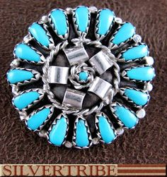 Native American Navajo Indian Sterling Silver Turquoise Pin Pendant TS56515