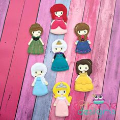 Finger Puppets – Princess Set 1 Each set is OOAK yours will vary slightly from the example photo Finished set is $24