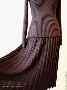 """Купить Вязаный комплект """"Плиссе"""" - комбинированный, джемпер вязаный, юбка, юбка…"""