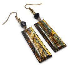 Black Crackle Dangle Earrings- polymer clay jewelry- Minimalist Earrings