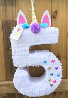 Unicorn Pinata Number Five Shape with Glitter Heart Accents .- Unicorn Pinata Number Five Shape with Glitter Heart Accents Choose your Number Einhorn Pinata Nummer fünf Form Valentinstag Pinata Birthday Pinata, Unicorn Themed Birthday Party, 5th Birthday Party Ideas, Hawaiian Party Decorations, Birthday Party Decorations, Craft Party, Anniversaire My Little Pony, Easy Access, Goodies