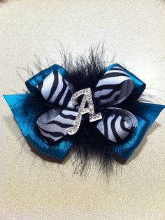 Teal Zebra Initial Bow. Love this!