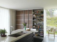 Unique Pantry Design for Small Homes: Kitchen Island Modern Kitchen Interior Sliding Door Pantry Design ~ gnibo.com Kitchen Designs Inspiration