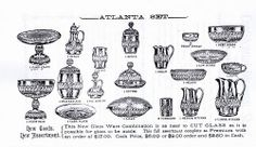 Catalogue page showing items in the Atlanta Pattern from the Tarentum Glass Co.