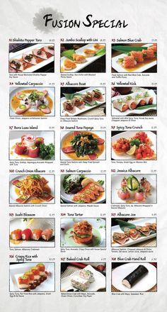 Fusion Sushi Japanese Restaurants - Manhattan Beach and Long Beach in California Comida Fusion, Fusion Food, Sushi Menu, Sushi Party, Sushi Roll Recipes, Sushi Platter, Asian Recipes, Healthy Recipes, Homemade Sushi