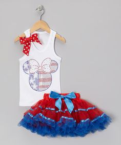 Take a look at this White Flag Mouse Tank & Red Pettiskirt - Toddler & Girls by Beary Basics on #zulily today!