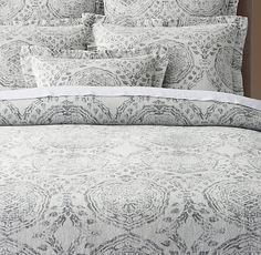 RH's Castillo Medallion Cotton-Linen Duvet Cover:FREE SHIPPINGArtfully loomed in Portugal, our bedding's elegant medallion-and-vine pattern dates from the 16th century, a period when Portuguese textiles flourished with stylized botanical motifs. The masterful jacquard weave evokes an antiqued quality on supple washed cotton linen.