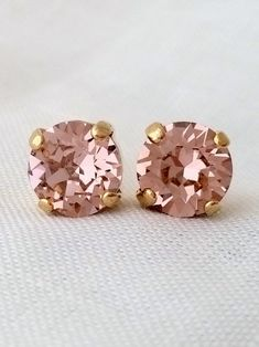 Blush pink earrings | Blush crystal stud earrings by EldorTinaJewelry on Etsy | http://etsy.me/1K9ulm8