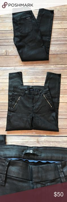 "7 for All Mankind Black jeans, size 27 7 for All Mankind Chinos in black coated jeather (a black waxy wash). Tab and hook closure. 2 angled zip pockets in front. Very rock star/glam. Approx 26"" inseam. 7 For All Mankind Jeans"