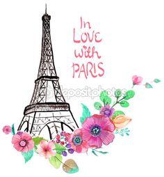 Torre Eiffel con acuarelas flores — Ilustración de stock #69513871