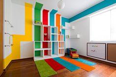The Wall Corner Beside Glass Window Kids Playroom Ideas Inspiring Wood Storage Bench Blue Polca Dot Pillow Using Brown Green Slide Green Stripes Cushion