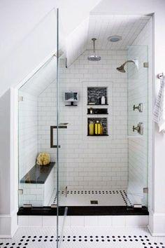 6 Superb Tips: Bathroom Remodel Wainscotting Doors bathroom remodel stone sinks.Bathroom Remodel Bathtub House complete bathroom remodel on a budget.Bathroom Remodel On A Budget Toilets. Loft Bathroom, Upstairs Bathrooms, Bathroom Renos, Bathroom Remodeling, Budget Bathroom, Remodel Bathroom, Remodeling Ideas, Shower Remodel, Sloped Ceiling Bathroom