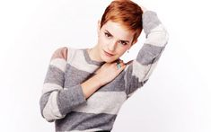 Emma Watson Short Red Hair Grey Sweater - HD Wallpapers - Free Wallpapers - Desktop Backgrounds