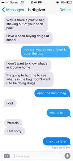 There better not be drugs in that bag...