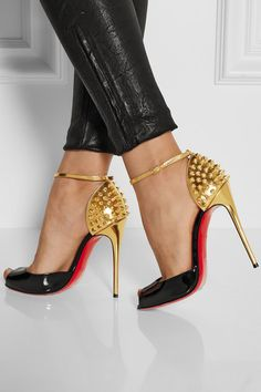 christian louboutin black and gold pumps