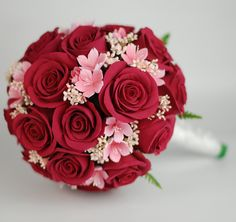 Red Roses with Pink Sakura Cherry Blossom Bouquet