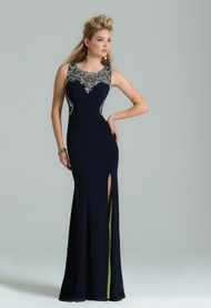 Jersey Beaded Dress with Illusion Back