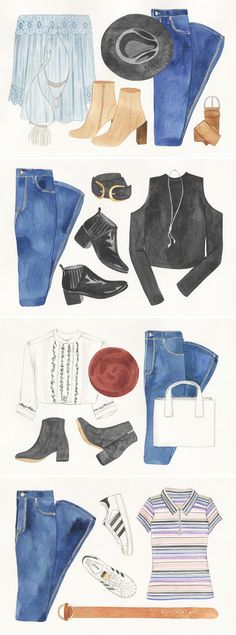 UO Guide: Flares Four Ways How do you do denim? We teamed up with Brooklyn illustrator Meghann Stephenson to share a guide to the different ways we're wearing our favorite style of the season. Click through to read more on your blog!
