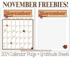 Free Gratitude and Calendar Printables for November, Thanksgiving Printables #mycomputerismycanvas