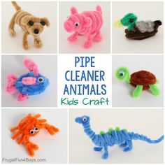 Adorable Pipe Cleaner Animals Craft for Kids - Frugal Fun For Boys and Girls - - Grab some pipe cleaners and googly eyes and make 9 adorable pipe cleaner animals! This is a fun craft for kids. Perfect for a rainy day! Animal Crafts For Kids, Fun Crafts For Kids, Diy Crafts To Sell, Projects For Kids, Art For Kids, Arts And Crafts, Rainy Day Crafts, Animals For Kids, Pipe Cleaner Animals