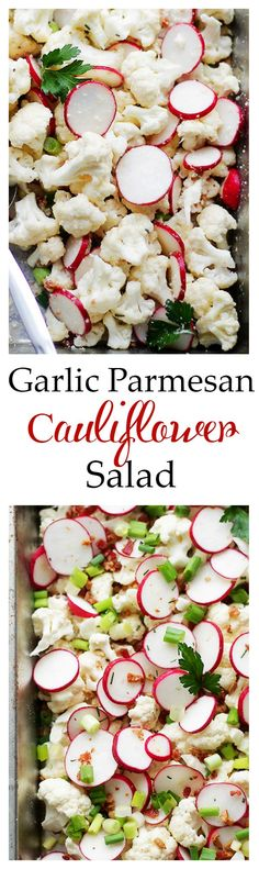 Garlic Parmesan Cauliflower Salad - Cauliflower florets tossed with sliced radishes, bacon, sunflower seeds, green onions and a Garlic Parmesan Salad Dressing that is SO incredibly good! Get the recipe on diethood.com