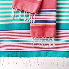 Wholesale Beachy Pink Stripes Fouta Towel - Small - DII Design Imports // www.designimports.com