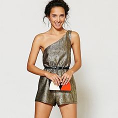 silence + noise gold one shoulder romper Really pretty shimmery romper! Brand new without tags. Never been worn. So cute though! Super glam for a birthday or holiday party! silence + noise Pants Jumpsuits & Rompers