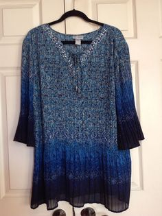 CATHERINES Blue Ombre Print Embellished Pleated Tunic Top Blouse 1X 18-20 PLUS #Catherines #Tunic #Casual