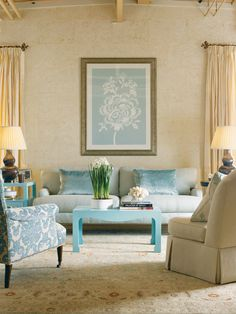Beautiful Living Room from Boston Design Center-- pillows and coffee table Living Room Turquoise, House Of Turquoise, Living Room Colors, My Living Room, Home And Living, Living Spaces, Turquoise Accents, Light Turquoise, Blue Accents