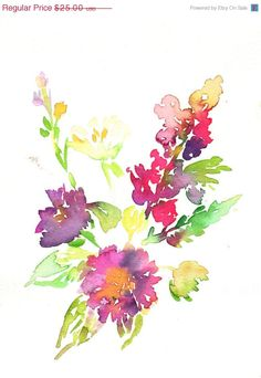 """Just Because Sale Print of Original Watercolor Painting, Titled: """"Autumn Blooms"""" by Jessica Buhman 8 x 10 Purple Red Pink"""