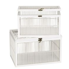 Household Essentials Fir/Bamboo Large Chest in White - ML-6141