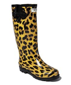 Another great find on #zulily! Black & Tan Leopard Rain Boot #zulilyfinds