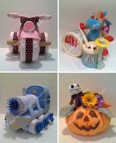 Baby shower ideas Diaper cakes make perfect baby shower gifts and centerpieces Piano, Guitar, Train, Carriage, Trcycle