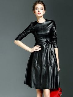 Shop Black PU Tied Long Sleeve Skater Dress from choies.com .Free shipping Worldwide.$51.99