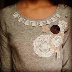DIy plain T-shirt embellished with doilies, vintage trim and buttons