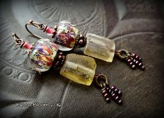 Lampwork Glass, Roman Glass, Rustic, Organic, Earthy, Copper, Aged, Ancient Roman Glass, Bead Earrings by YuccaBloom on Etsy