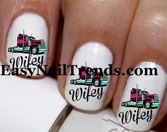 20 pc  Trucker Wifey Truckers Wife Semi Truck Nail Art Nail Decals #cg59na Style3
