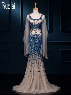 New Arrival Luxury 2016 Navy Blue Champagne Tulle Mermaid Heavy Beading Crystal See Through Formal Long Evening Dresses