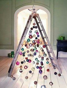 Ladder ornament Christmas tree, perfect for in front of a big picture window.