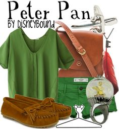 Green shirt, green shorts, leather accents, red feather? For Ashton